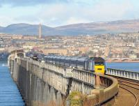 View north from Wormit on 9 February with trains about to pass on the Tay Bridge.<br><br>[Brian Forbes&nbsp;09/02/2010]