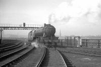 V2 2-6-2 no 60886 photographed shortly after reversing off Gateshead shed and onto the King Edward Bridge in the 1960s, having travelled via King Edward Bridge East Junction off to the right. The locomotive is about to cross the Tyne to reach Newcastle Central station. The triangular set of junctions here is completed by King Edward Bridge West Junction behind the camera.<br><br>[K A Gray&nbsp;//]