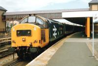 Celtic Fringes. 37 408 <I>Loch Long</I>, some way from home, with a train at Holyhead on 4 July 1993.<br><br>[David Panton&nbsp;04/07/1993]