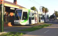 C class (Citadis) tram at Port Melbourne terminus on the site of the old heavy rail station on 29 May 2009. Trams run on former electrified heavy rail�formations and then on to street running in the city centre. <br> <br><br>[Colin Miller&nbsp;29/05/2009]