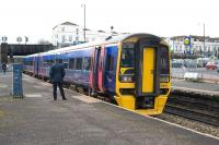 Southbound 158952 calls at Bristol's Lawrence Hill station on 10 February 2010.<br><br>[Peter Todd&nbsp;10/02/2010]