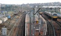 Looking east over Airdrie station on 17 February 2010. Good to see progress on the A-B project, although I'm sad to see the old signal box has now been demolished. [See image 21913]<br><br>[Ewan Crawford&nbsp;17/02/2010]