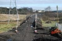 View east over the earthworks at the former Moffat Mills Junction.<br><br>[Ewan Crawford&nbsp;17/02/2010]