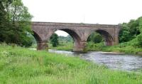 The former railway bridge that took the Waverley route over the Tweed between Galashiels and Melrose and will carry the reinstated line on to the terminus at Tweedbank. View south west along the river in June 2005. <br><br>[John Furnevel&nbsp;01/06/2005]