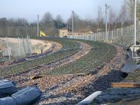Progress at Bathgate looking west towards Airdrie  - sleepers laid out on the morning of 20 February 2010.<br><br>[Bill Roberton&nbsp;20/02/2010]