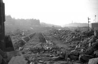 The remains of 64A on the last day of February 1970, seen from the Restalrig Road end of the shed looking towards Waverley. St Margarets signal box is just visible in the centre background, adjacent to the bridge carrying London Road over the ECML. <br> <br><br>[Bill Jamieson&nbsp;28/02/1970]