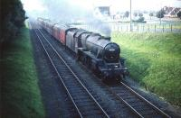 Black 5 no 45456 brings a train down the straight south from Troon station on 21 August 1959 heading for Ayr.<br><br>[A Snapper (Courtesy Bruce McCartney)&nbsp;21/08/1959]