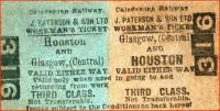 Caledonian Railway workman's ticket between Glasgow Central and Houston, issued on behalf of J Paterson & Son Ltd.<br><br>[Colin Miller&nbsp;//]