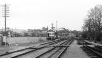 Looking east, towards Bedale, from the end of Leyburn station platform on the eve of closure of the goods yard facilities. The signal box shown here was demolished and the pointwork removed after the yard closed although a plain line remained in place for the Redmire traffic that continued for some years. [See image 19458] for the view in the opposite direction on the same day. <br><br>[Mark Bartlett&nbsp;27/05/1982]