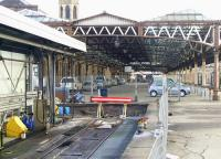 Looking south past the fuel road buffers into Perth station in February 2010. Platforms 8 & 9 originally continued under the canopy, a mirror image of platforms 5 & 6.<br> <br><br>[Gary Straiton&nbsp;26/02/2010]