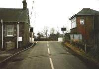 Looking south across the LC at Longforgan on 15 March 1999. The former station building stands on the left.<br><br>[David Panton&nbsp;15/03/1999]