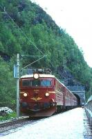 The NSB 10.15 Oslo to Bergen train passes through Orneberget for Mjolfjell Halt in July 1967<br><br>[Colin Miller&nbsp;//1967]