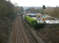 Looking west over Gathurst station on 2 March 2010. On the right was the former goods yard and exchange sidings between the narrow gauge system linking the ICI explosives factory on the other 8side of the valley and the BR network. Amazingly the remnants of a set of points in the former yard are still visible bottom right. [See image 21338] for a comparison with the situation thirty two years earlier<br><br>[John McIntyre&nbsp;02/03/2010]