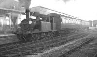LBSCR <I>Terrier</I> 0-6-0T no 32650 stands at Hayling Island with the branch train from Havant in October 1962. This particular locomotive, built in 1876 (and which survives in preservation) hauled the last scheduled BR service over the Hayling Island branch on Saturday 3 November 1963.<br><br>[K A Gray&nbsp;30/10/1962]