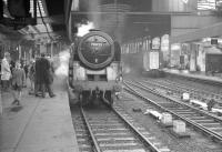 Britannia Pacific no 70023 <I>Venus</I> photographed at the head of a special at Newcastle Central in the 1960s. The locomotive was withdrawn from Kingmoor shed at the end of 1967 and disposed of through Wards, Killamarsh, in April 1968.<br><br>[K A Gray&nbsp;//]