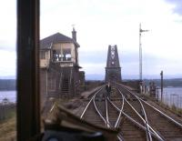 Forth Bridge North signal box seen from behind the driver's cab of a southbound DMU in the early 1960s. Forth Bridge North box closed on 3 June 1979.<br><br>[Frank Spaven Collection (Courtesy David Spaven)&nbsp;//]