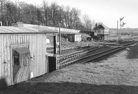 Looking south east from the loading bank towards the signal box at Markinch around 1980.<br><br>[Bill Roberton&nbsp;//1980]