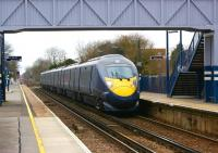 A Hitachi Class 395 <I>Javelin</I> EMU passes Minster station on 6 March 2010 with one of the hourly London St Pancras to Margate services via Stratford Intl, Ebbsfleet Intl, Ashford Intl (all on HS1), Canterbury West and Ramsgate.<br><br>[John McIntyre&nbsp;06/03/2010]