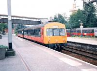 Motherwell platform 3 in August 1997, with 101 689 forming the next shuttle to Cumbernauld.<br><br>[David Panton&nbsp;/08/1997]