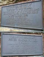 The memorial plaques to Peter Fowler and Gordon Turnbull attached to two of the three sides of the triangular memorial stone above Penmanshiel Tunnel. March 2010. [See image 28041]<br> <br><br>[John Furnevel&nbsp;08/03/2010]