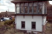 Shotts signal box (switched out) in October 1978. The photograph was taken from Motherwell trip 9T26 Ravenscraig No 2 to Polkemmet.<br><br>[William Barr&nbsp;/10/1978]