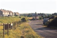 Another view over the former station and yard at Gullane in 1971, with the coal merchant still active. Gullane lost its passenger service in 1932 although the branch remained open until 1964. [See image 28052]<br><br>[Bill Roberton&nbsp;//1971]