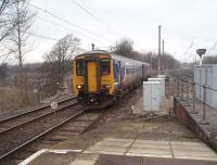 The 0811 service from Morecambe, formed by 156469, runs into Platform 2, a north facing bay at Lancaster. Some trains on the branch are lightly loaded but this train is usually standing room only, at least for the five minute run from Bare Lane.  <br><br>[Mark Bartlett&nbsp;25/02/2010]