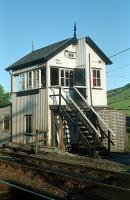Blair Atholl (formerly south) signalbox seen in 1989 before an extension was added not quite perfectly to it on the Perth side. The view is from the level crossing (Inverness) side.<br><br>[Ewan Crawford&nbsp;//1989]