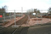 Track laid west from Bathgate looking towards Armadale on 14 March 2010. The current single line Bathgate terminus is off to the right.<br><br>[John Furnevel&nbsp;14/03/2010]