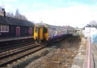 A Carlisle to Hexham service approaching Haltwhistle station on the morning of 14 March 2010.<br><br>[John Steven&nbsp;14/03/2010]