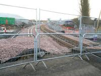 View east from the temporary level crossing at Bathgate towards the new station on Sunday 14 March 2010. The line into the current Bathgate terminus runs along this side of the large silver shed on the left.  <br><br>[John Furnevel&nbsp;14/03/2010]