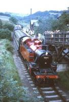 Scene at Haworth on the KWVR in the 1960s with Ivatt Ex-LMS class 2 2-6-2T no 41241 with a train for Oxenhope at the platform.<br><br>[Robin Barbour Collection (Courtesy Bruce McCartney)&nbsp;//]