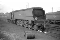 Bulleid <I>West Country</I> Pacific no 34102 <I>Lapford</I> on shed at Oxford on 29 June 1959.<br><br>[Robin Barbour Collection (Courtesy Bruce McCartney)&nbsp;29/06/1959]
