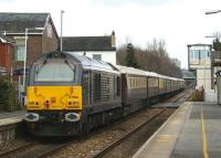 67006 on the rear of a <I>Northern Belle</I> charter heading east through Bamber Bridge towards Blackburn on 14 March 2010. The train was routed via Hellifield to Carnforth before making it's way south along the WCML via Lancaster and Preston to Liverpool. <br> <br><br>[John McIntyre&nbsp;14/03/2010]