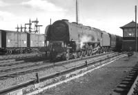 46247 <I>City of Liverpool</I> has pulled up alongside Beattock North signal box with the heavily loaded 10am Euston - Perth train on 15 April 1963 in order to take on banking assistance for the climb to the summit. [See image 33475]<br><br>[K A Gray&nbsp;15/04/1963]