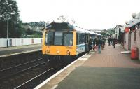117 308 stands at Inverkeithing with the 1757 Outer Circle service from Waverley in June 1997<br><br>[David Panton&nbsp;/06/1997]