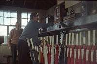 Pat Swift learning the frame at Benhar Junction as the signalman nervously looks on (1978).<br><br>[William Barr&nbsp;//1978]