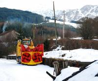 Impressive looking snow blower in the sidings at Crianlarich in March 2010.<br><br>[Ewan Crawford&nbsp;08/03/2010]