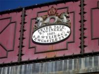 Makers plate on water tower alongside Haltwhistle station, Northumberland, in March 2010.<br><br>[John Steven&nbsp;07/03/2010]
