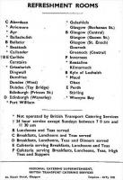 <I>Anyone for coffee at Callander ...or mince at Maud?</I> Page 239 of the British Railways 'Passenger Services Scotland' timetable for 12th September 1960 to 11th June 1961 shows how extensive the railway refreshment room network once was.<br> <br><br>[David Spaven&nbsp;12/09/1960]