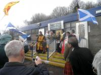Lord Elgin opening the King Robert the Bruce Heritage Centre created by Strathleven Artizans in the former booking office at Renton Station.<br><br>[John Yellowlees&nbsp;27/03/2010]