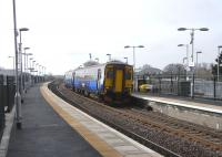 156 502 at Stewarton on 17 March with a service for Glasgow.� <br> Stewarton, like Dunlop, is back to being a two-platform station after a gap of four decades.� As the exisiting platform was substantially rebuilt too the whole thing has a new station look.� Kimarnock and Stewarton now enjoy a half-hour service to Glasgow, with some of them non-stop and some others calling only at Dunlop.� Clattering through Barrhead at speed is a novel experience.<br> <br><br>[David Panton&nbsp;17/03/2010]