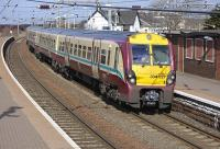 334 027 arrives at Newton-on-Ayr on 19 March with a train from Glasgow Central.<br> <br><br>[Bill Roberton&nbsp;19/03/2010]