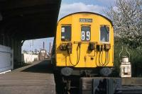 Spring blossom at the neat Croxley Green terminus on 22nd April 1976. The EMU will shortly return to Watford Junction. The service lasted another 20 years.<br><br>[Mark Dufton&nbsp;22/04/1976]