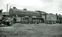 Gresley B17 4-6-0 no 61665 <I>Leicester City</I> in the yard at Doncaster Works, thought to have been photographed on 24 May 1959, a month after its withdrawal from Yarmouth South Town (32D).<br><br>[K A Gray&nbsp;24/05/1959]