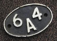 64A St Margarets shed plate last carried by 42128 [see image 28341].� The layout of the lettering is unusual.<br> <br><br>[Bill Roberton&nbsp;05/04/2010]