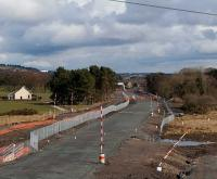 Looking east from the A801 in April 2010 as a new bridge takes shape connecting the Falside and Standhill areas. This area once formed junctions for mines at West Mains, Torbanehill and Whiteside.<br><br>[James Young&nbsp;04/04/2010]