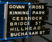 Old wooden destination boards from the Glasgow District Subway stored in the warehouse section of the National Railway Museum in March 2010. Note the board for the former Govan Cross, the name having been changed to plain Govan in 1980.<br><br>[John Furnevel&nbsp;25/03/2010]