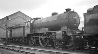 D49 4-4-0 no 62730 <I>Berkshire</I>, withdrawn from Selby at the end of 1958, photographed in the yards at Darlington Works in 1959 with 67281 behind [see image 28646]. The locomotive was cut up here in May of that year.<br><br>[K A Gray&nbsp;//1959]