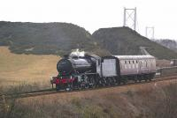 61994 The Great Marquess coasts downhill off Jamestown viaduct on 5 April with a Crewe - Thornton movement.<br> <br><br>[Bill Roberton&nbsp;05/04/2010]